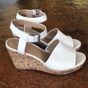 {Franco Sarto} Cream Wedge Sandals. Size 7.5.